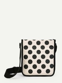 Dot Print Canvas Crossbody Bag