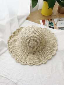 Ruffle Trim Straw Hat