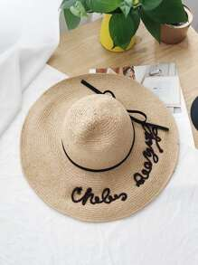 Bow Detail Letter Design Hat