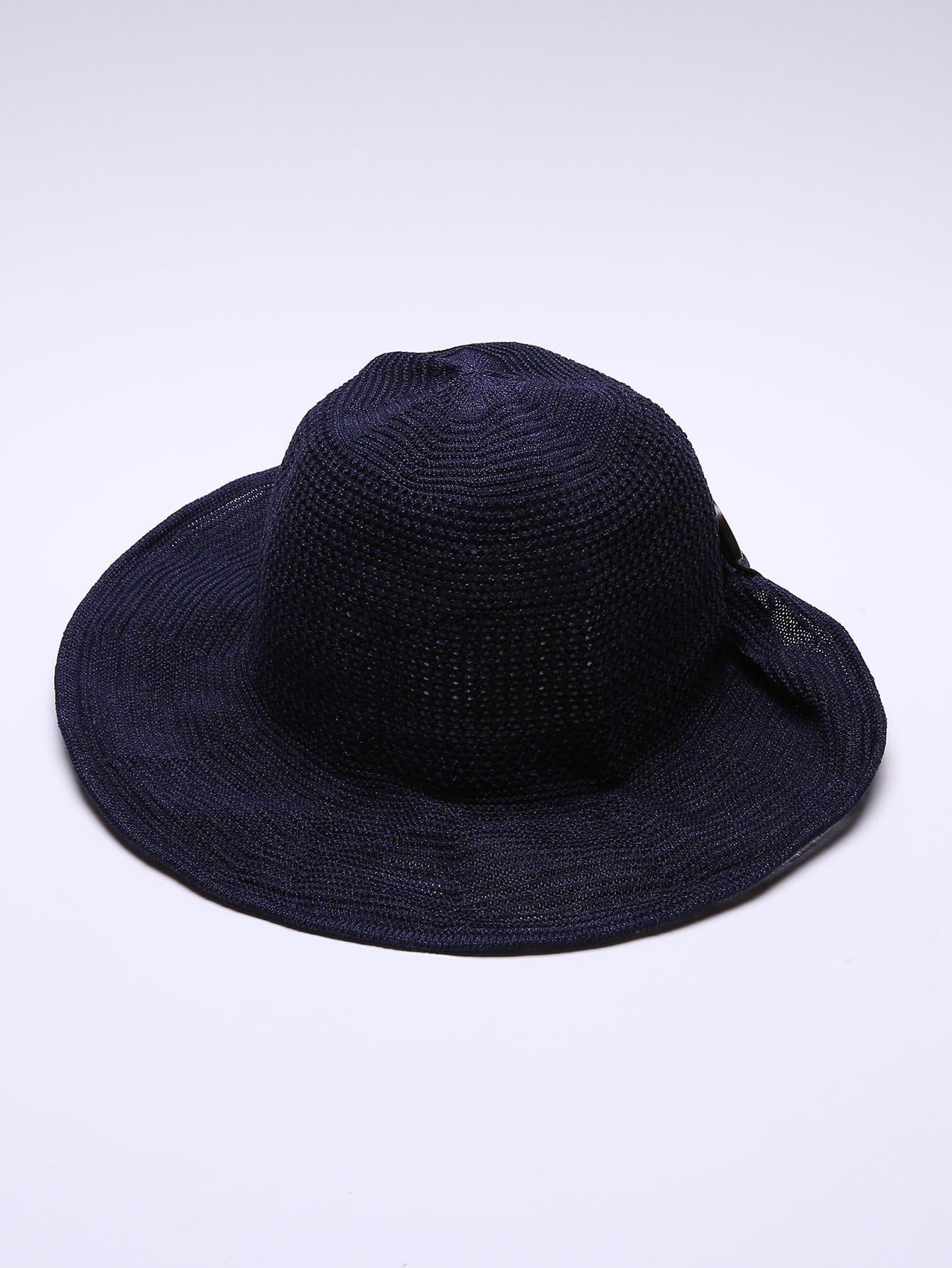Купить Тканая шляпа с украшением пуговиц, null, SheIn