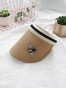 Bee Embroidered Straw Visor Hat