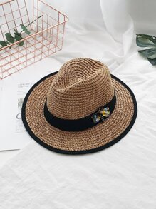 Bee Detail Woven Hat