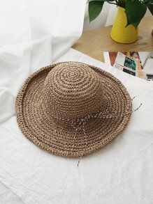 Rolled Trim Woven Hat With Bow