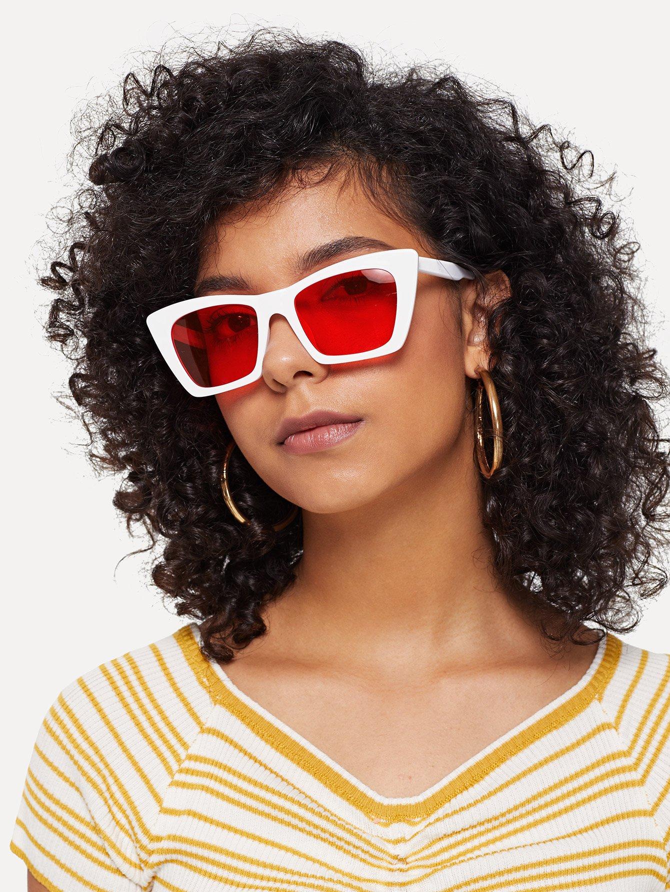 Купить Плоские солнцезащитные очки в форме глазы кота, null, SheIn