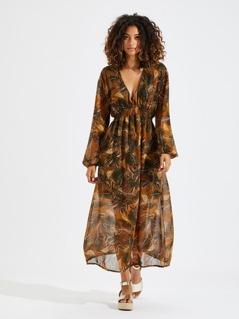 Leaf Print Shirred Waist Dress