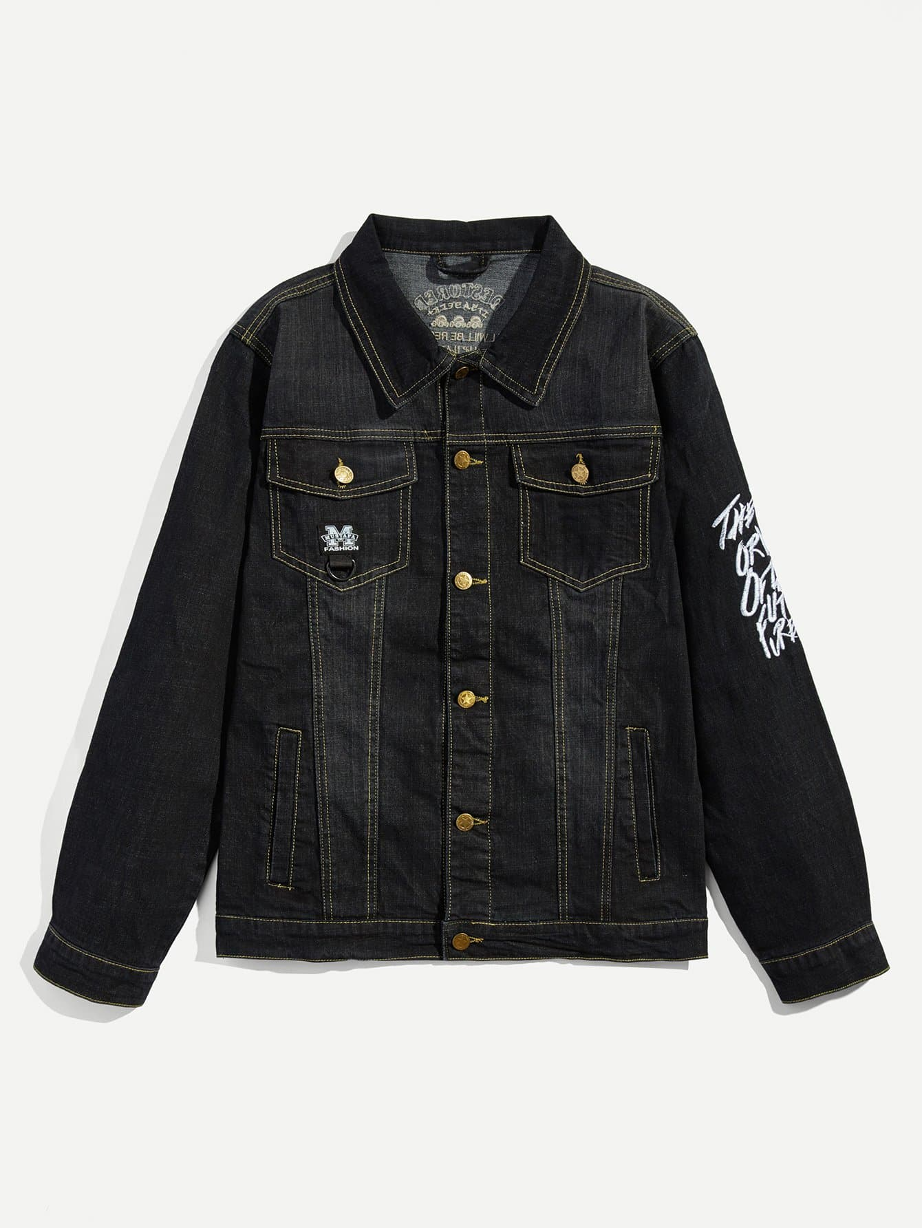 Симметрическая джинсовая куртка и с вышивки сзади одежды для мужчины