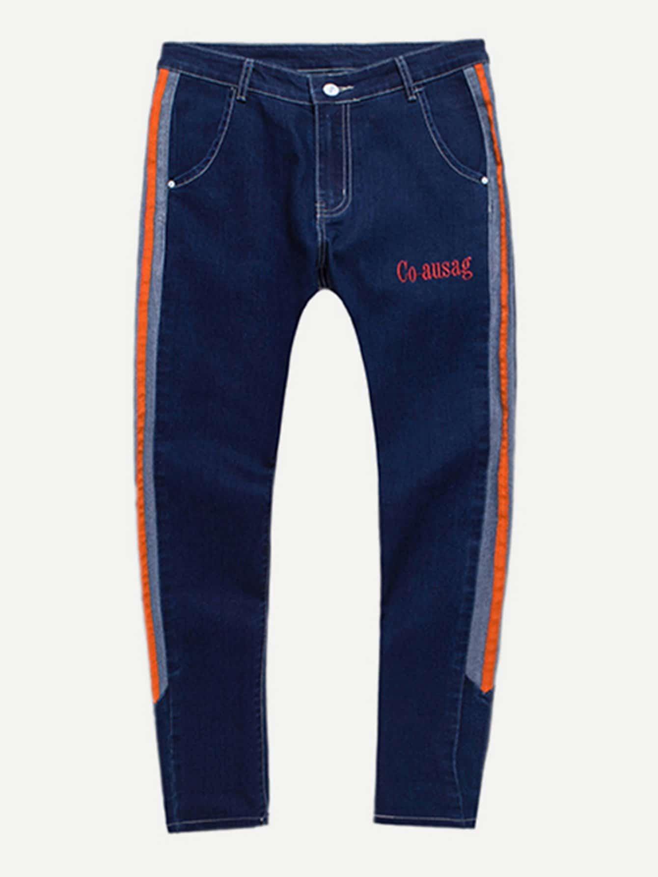 Men Tape Detail Letter Embroidery Skinny Jeans men letter embroidery side jeans