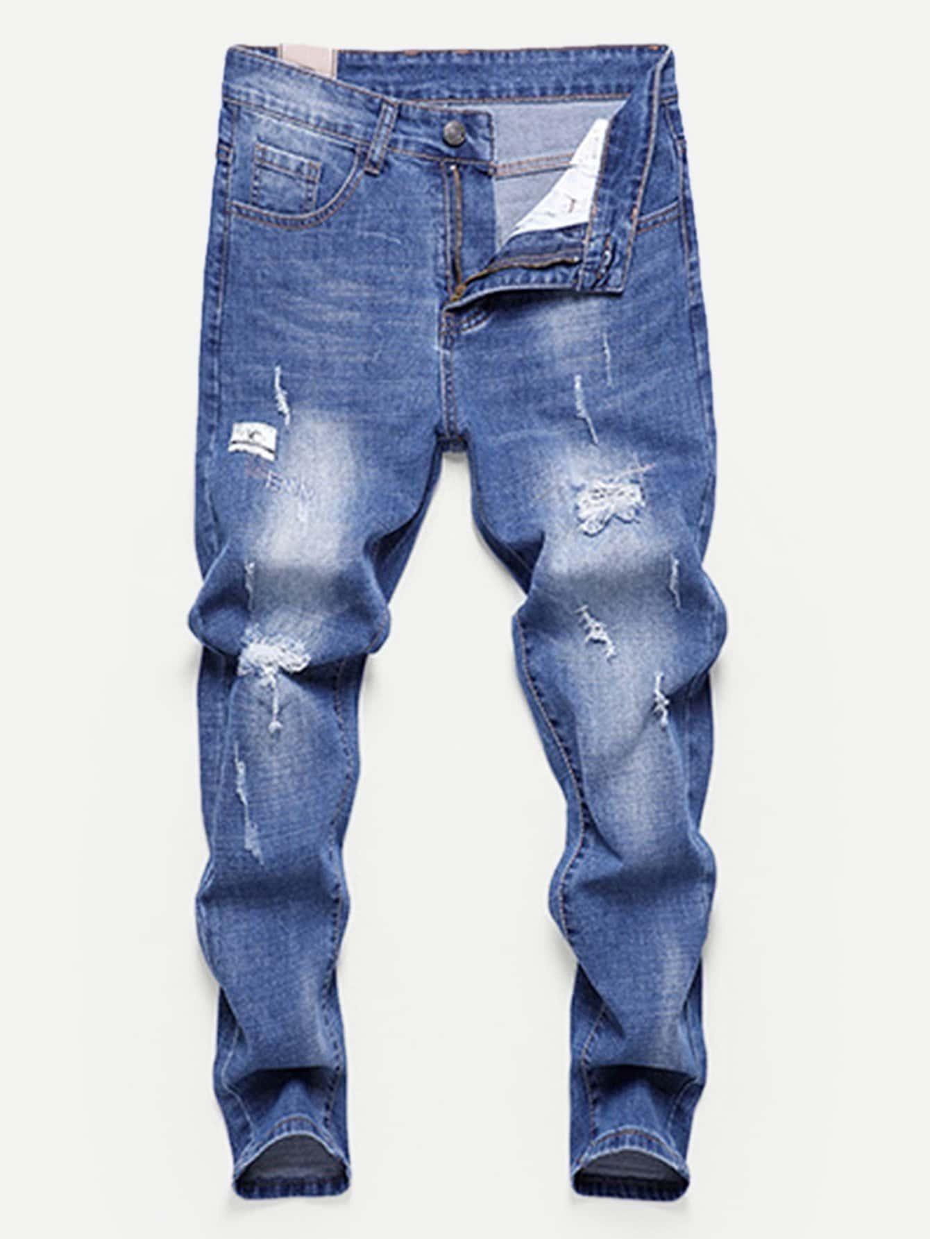 Купить Облегающие рваные джинсы как промывания для мужчины, null, SheIn