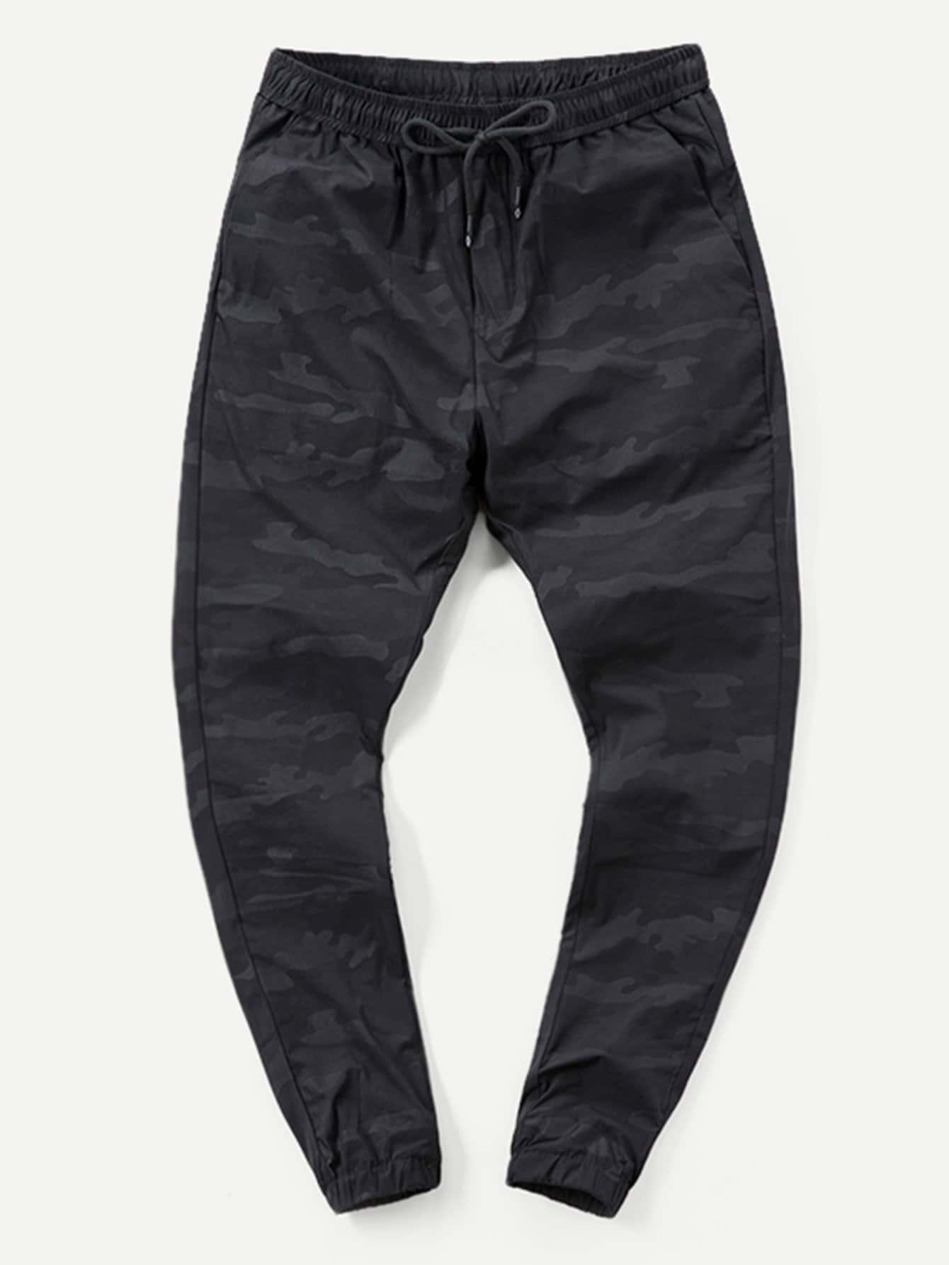 Men Plain Drawstring Tapered Pants
