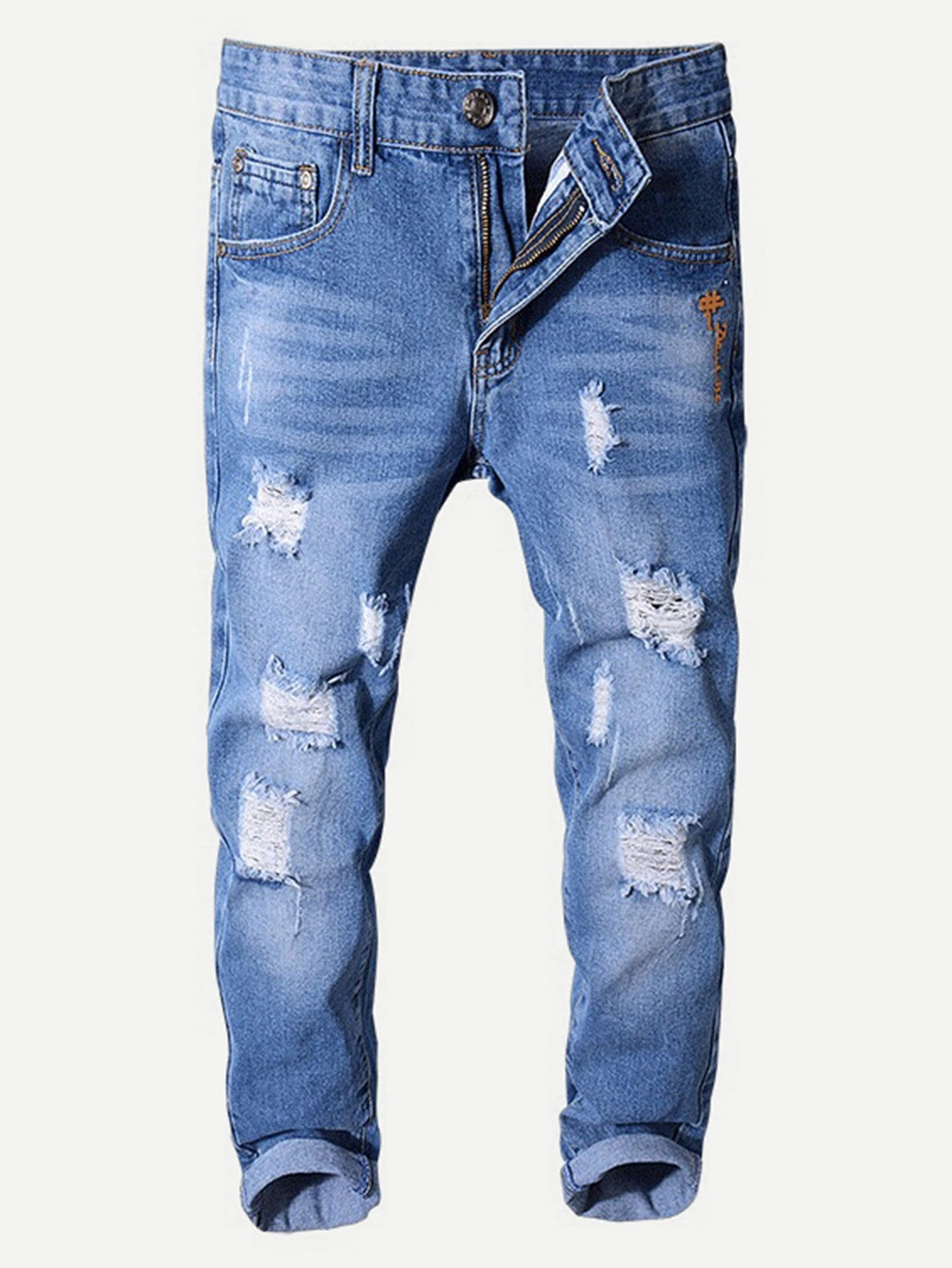 Men Destroyed Washed Skinny Jeans