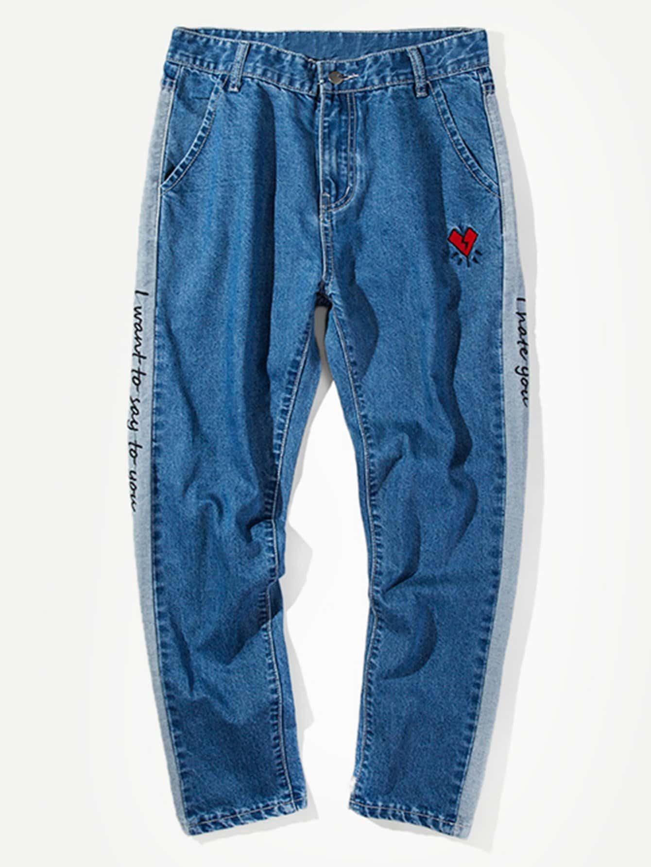 Men Letter Embroidery Side Jeans men letter embroidery side jeans