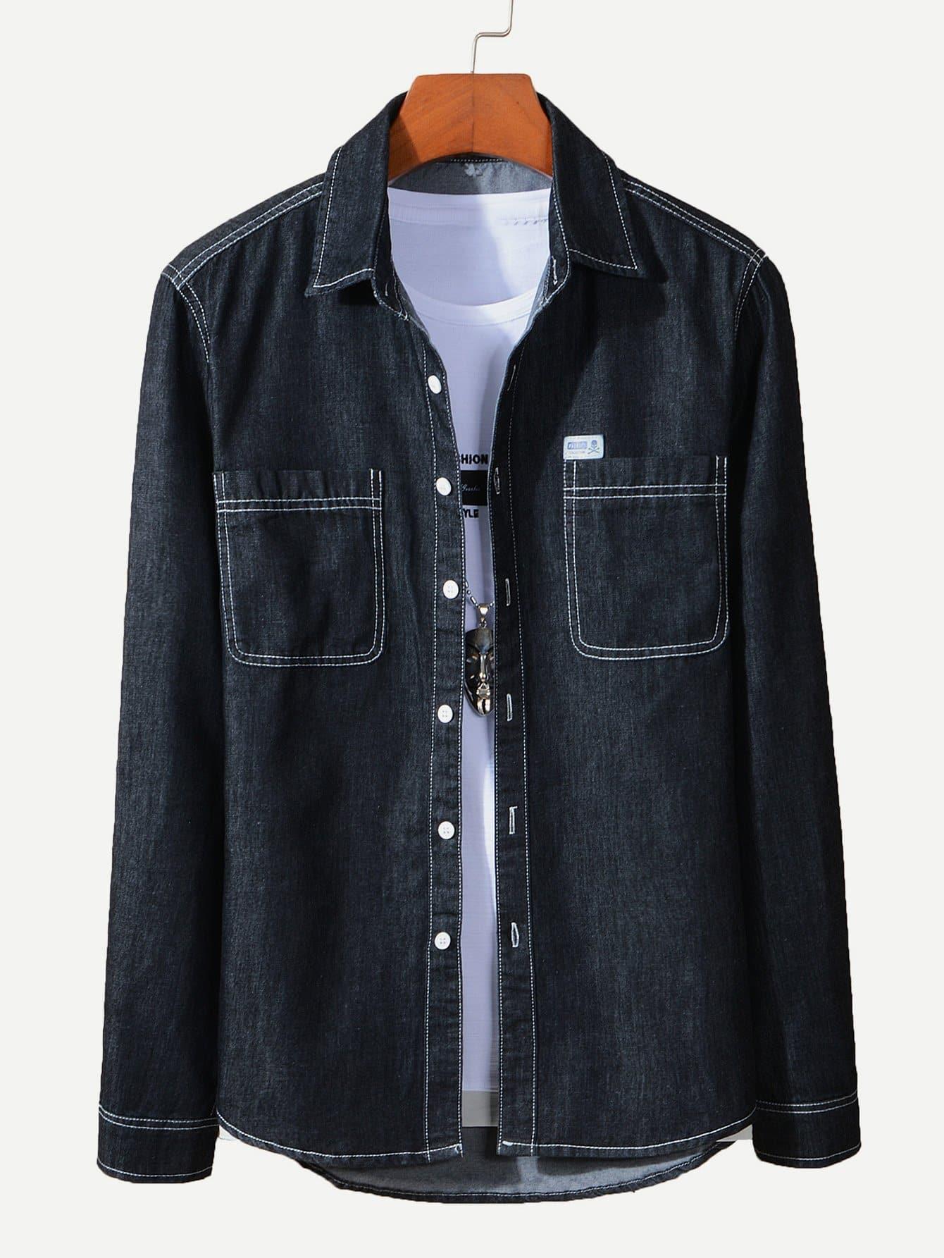 Симметрическая джинсовая рубашка и рольный подол для мужчины