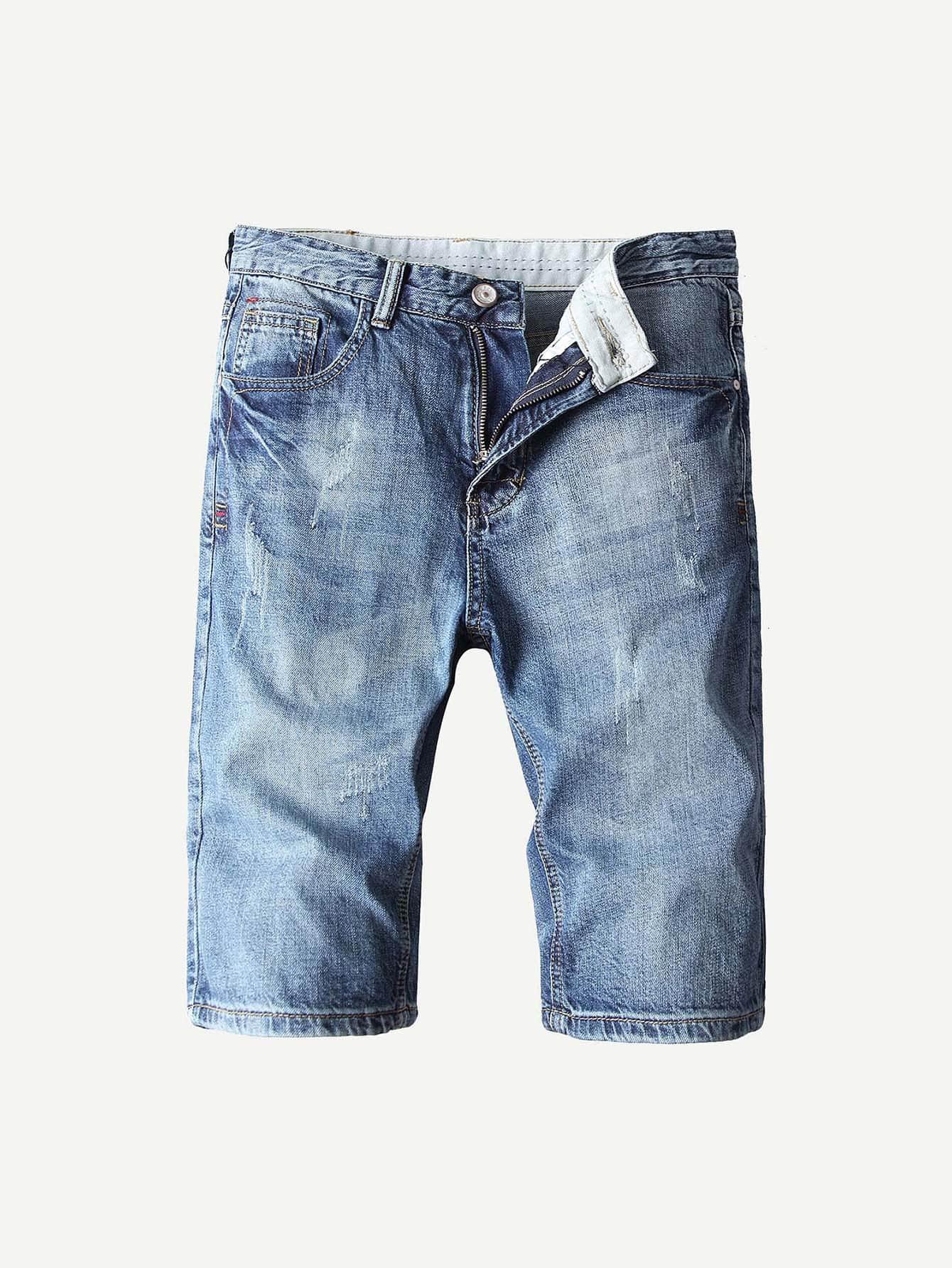 Купить Простые джинсовые шорты для мужчины, null, SheIn