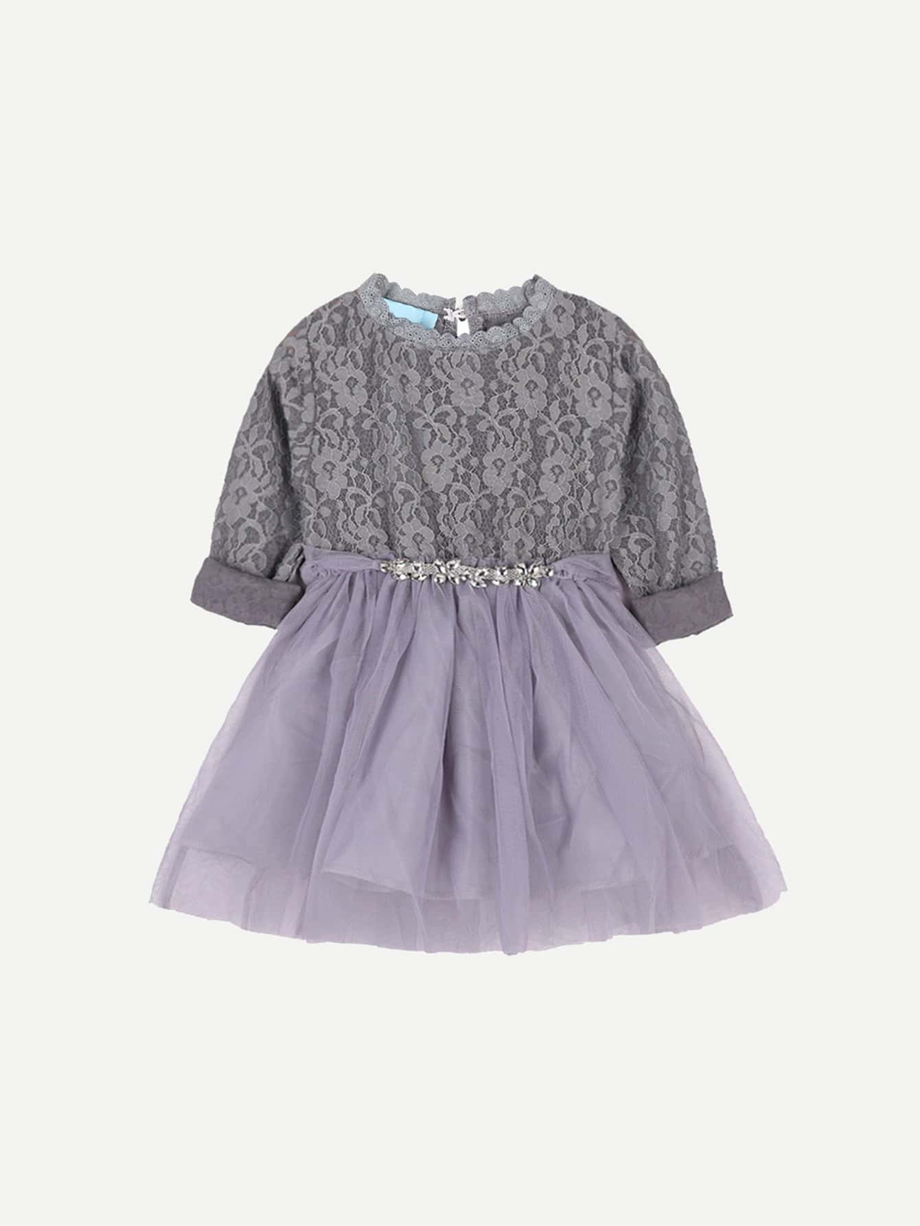 Girls Bow Detail Lace Overlay Dress lace overlay fit and flare dress