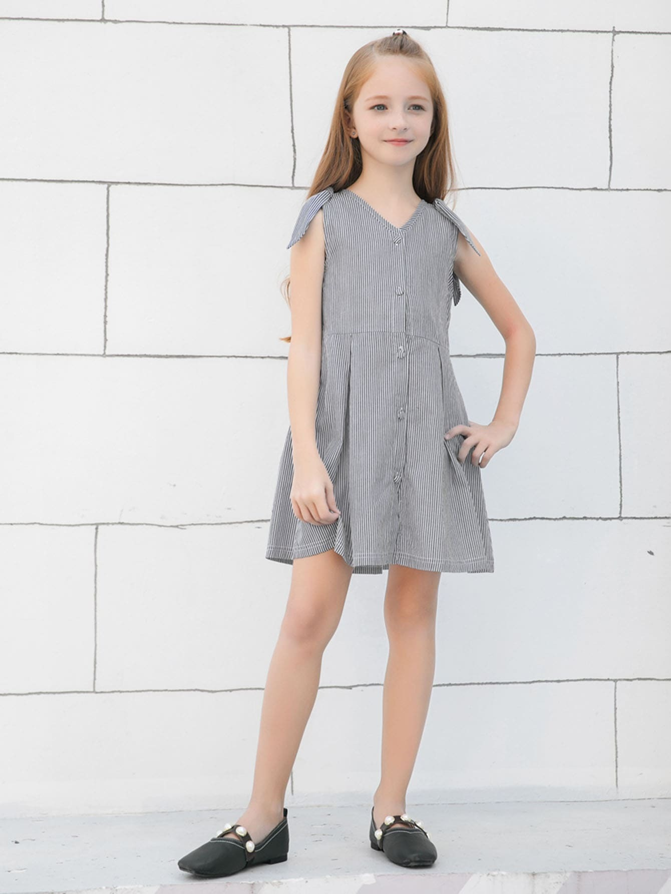 Girls Knot Detail Striped Dress figure print knot detail marled dress