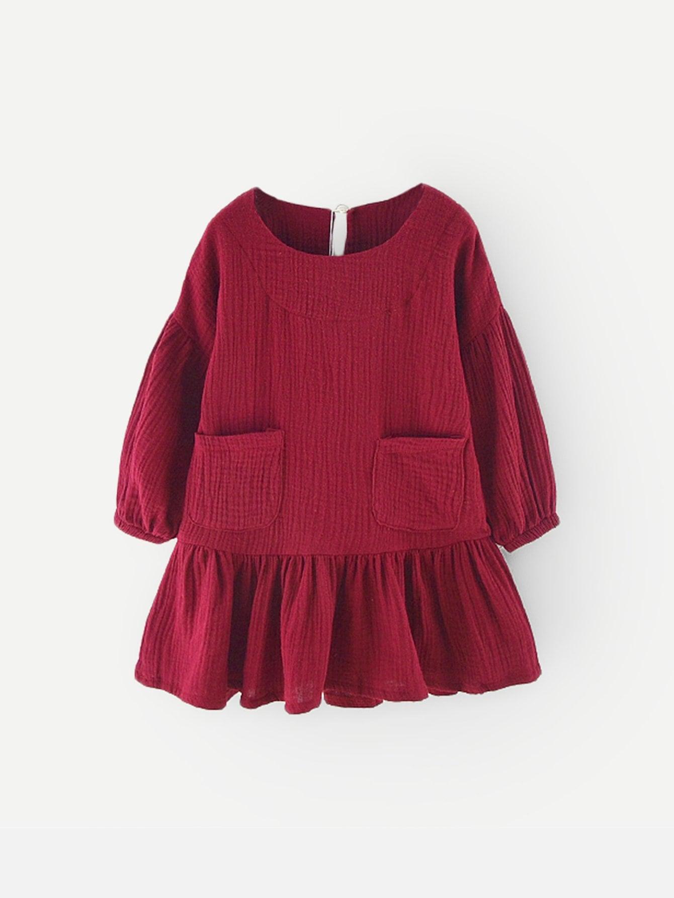 Стиль кэжуал Одноцветный с карманами туника Бургундия Платья для девочек от SheIn