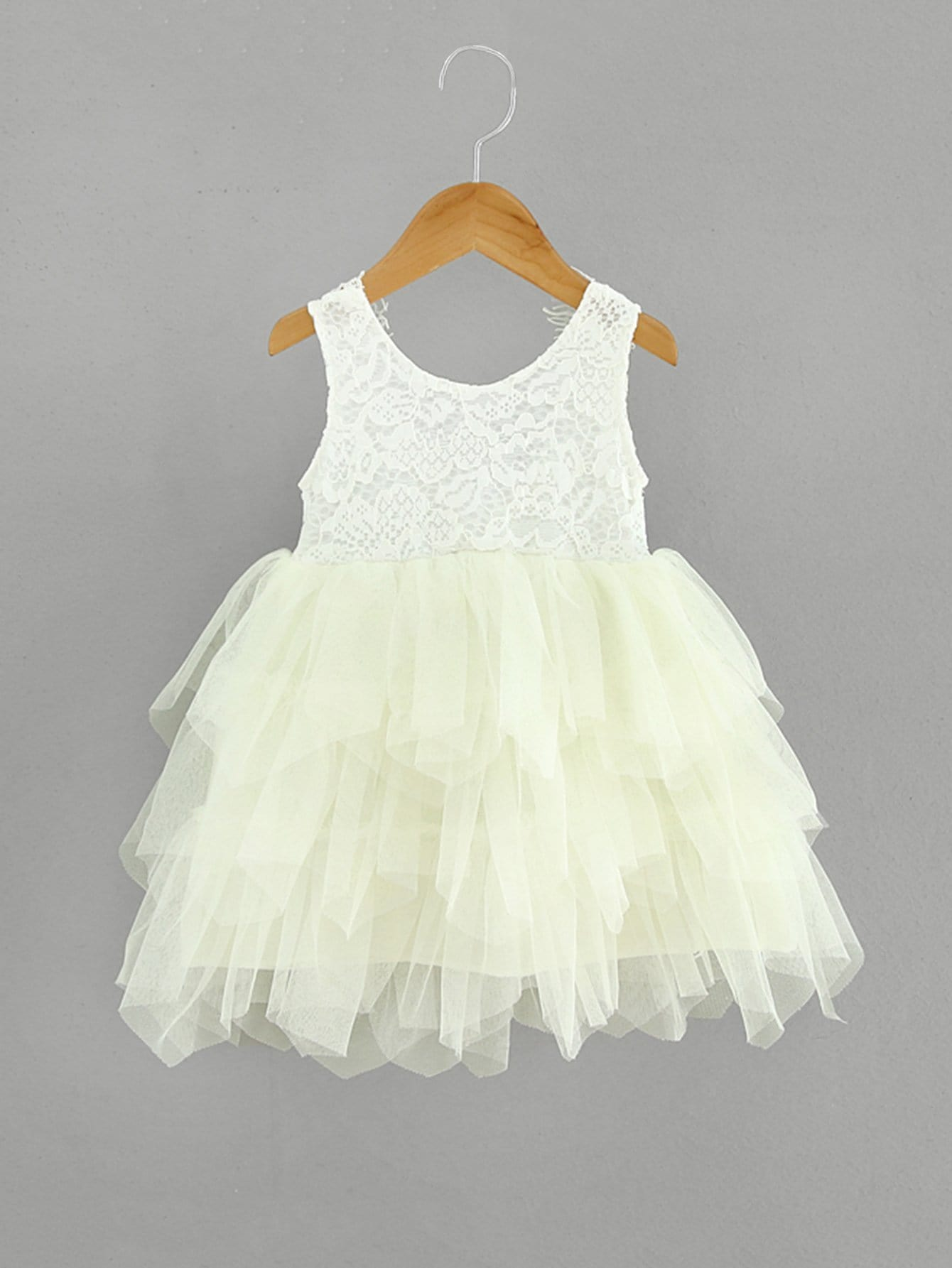 Girls Lace Overlay Layered Mesh Dress lace overlay fit and flare dress