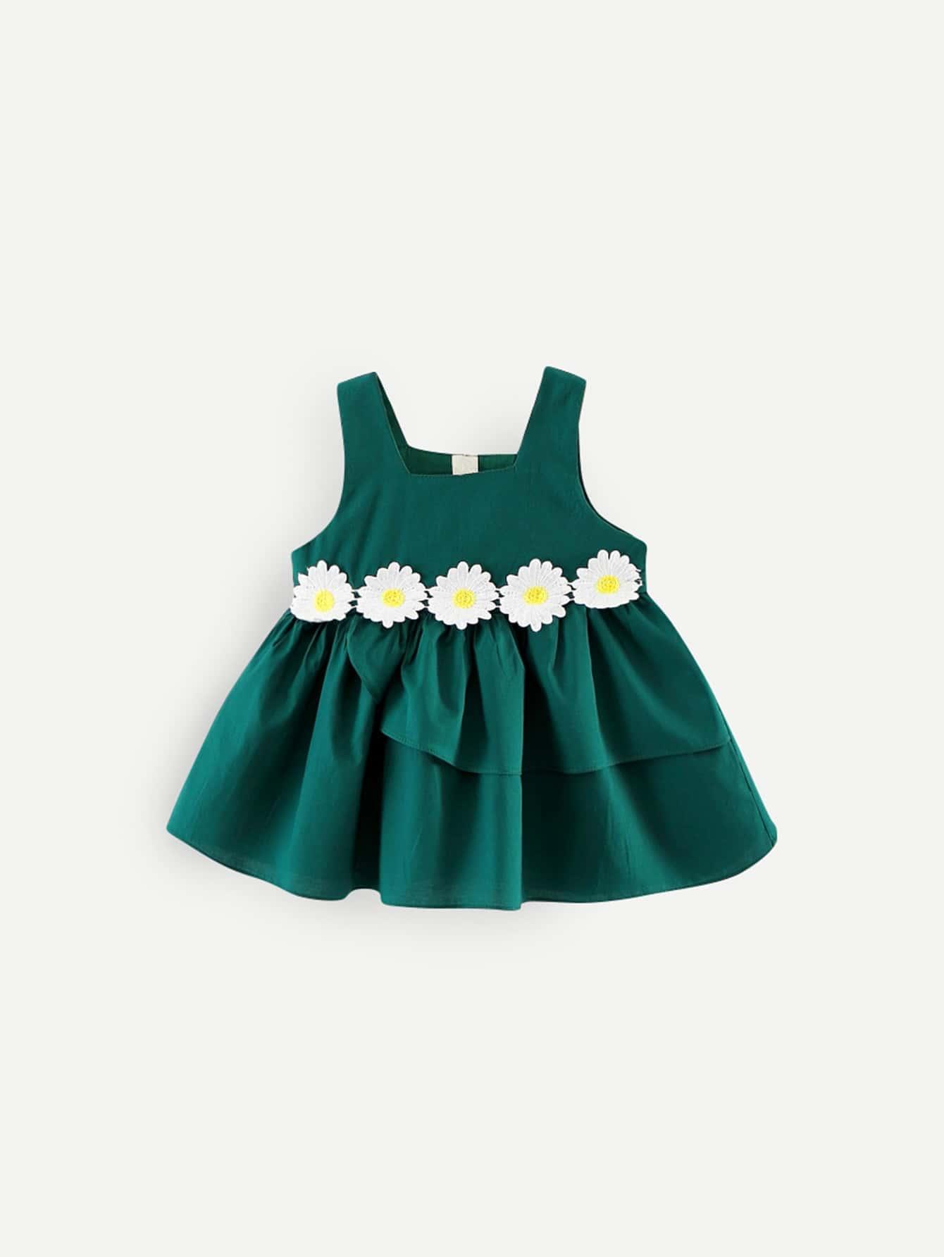 Girls Flower Embroidery Ruffle Hem Solid Dress eyelet embroidery ruffle hem dress