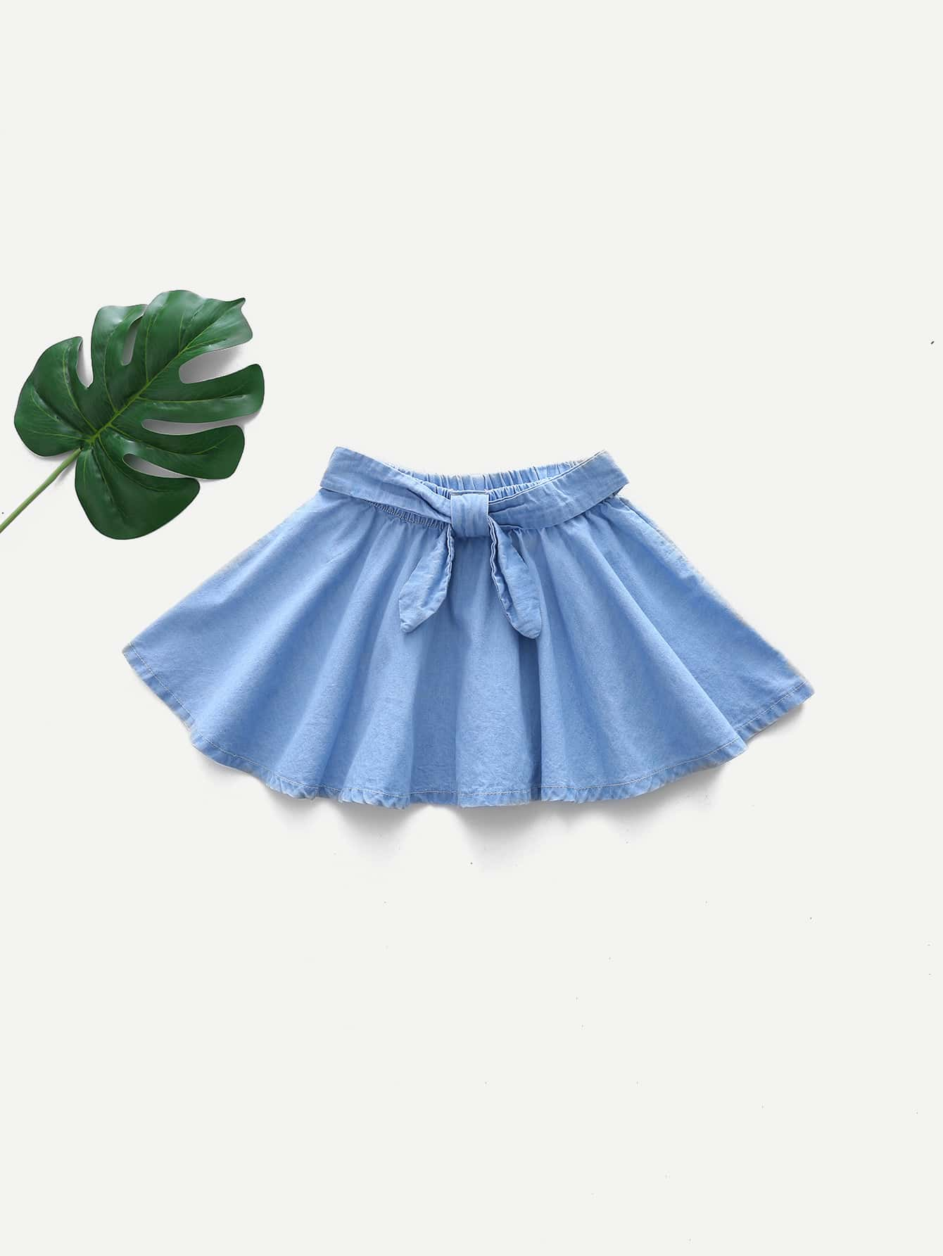 Girls Knot Front Pleated Skirt