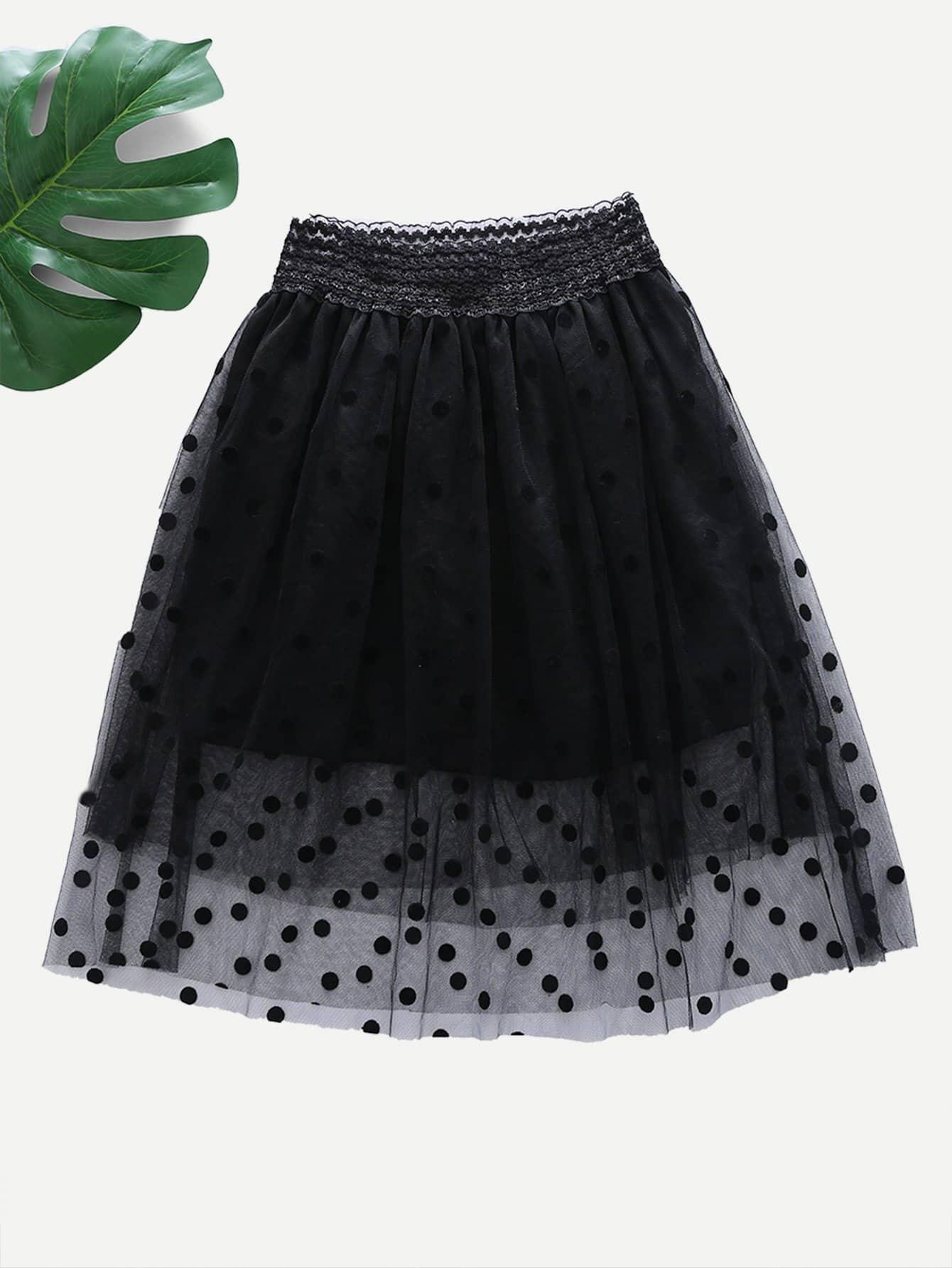 Girls Polka Dot Layered Skirt layered organza skirt