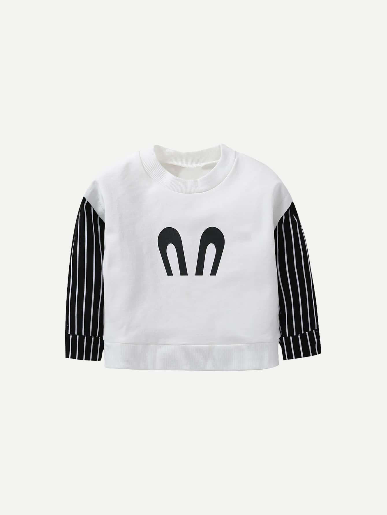 Boys Cartoon Print Contrast Striped Sleeve Sweatshirts