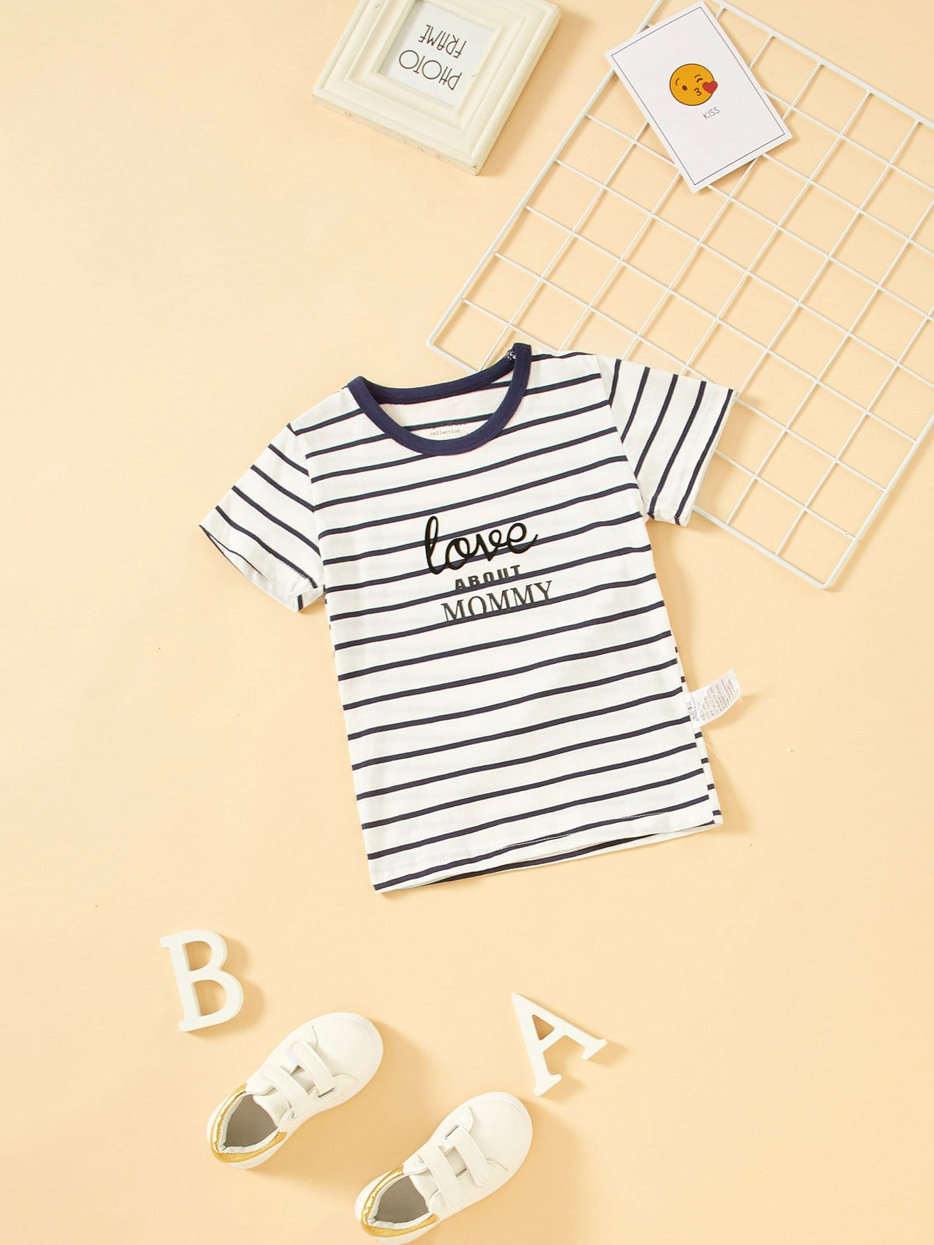 Boys Letter Print Striped Tee letter print striped tee