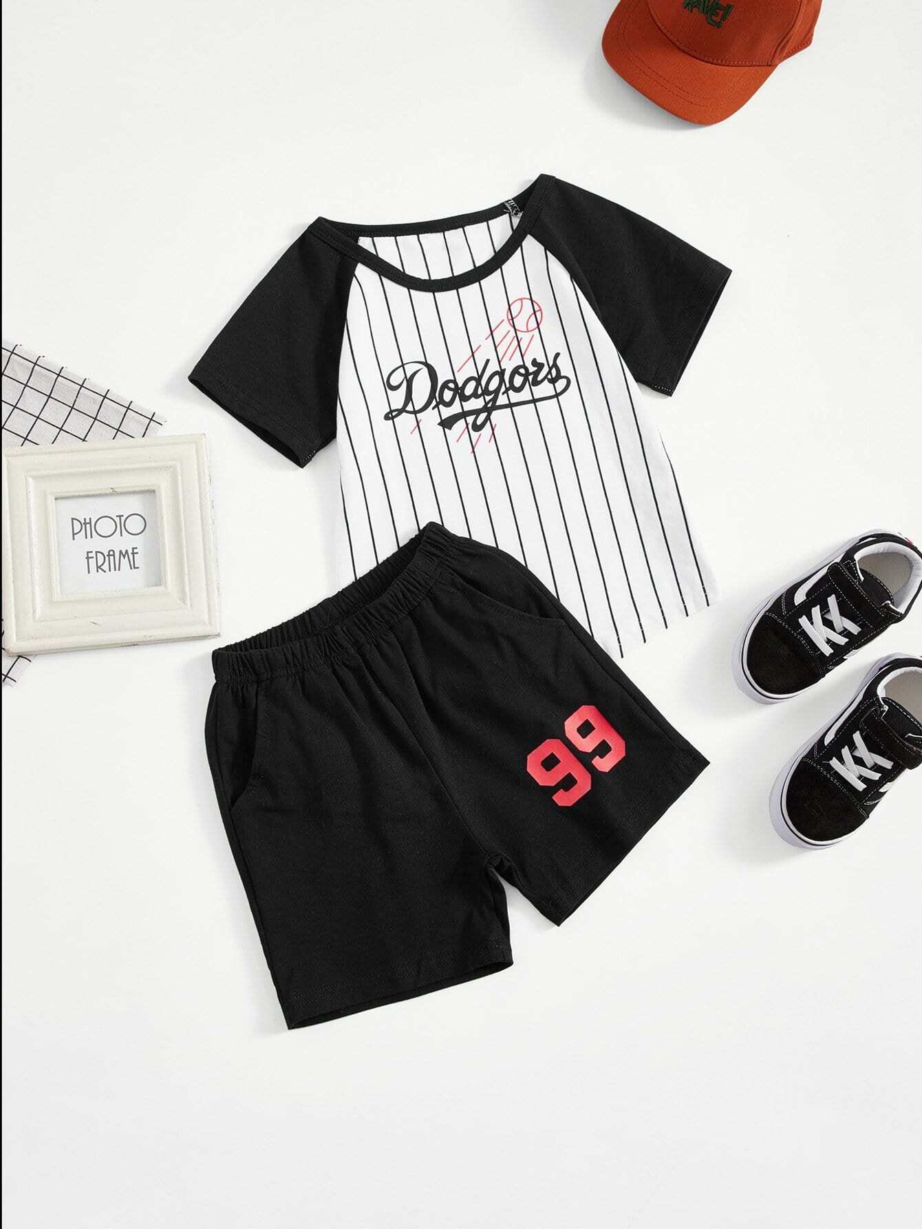 Boys Letter Print Striped Tee With Shorts letter print striped tee