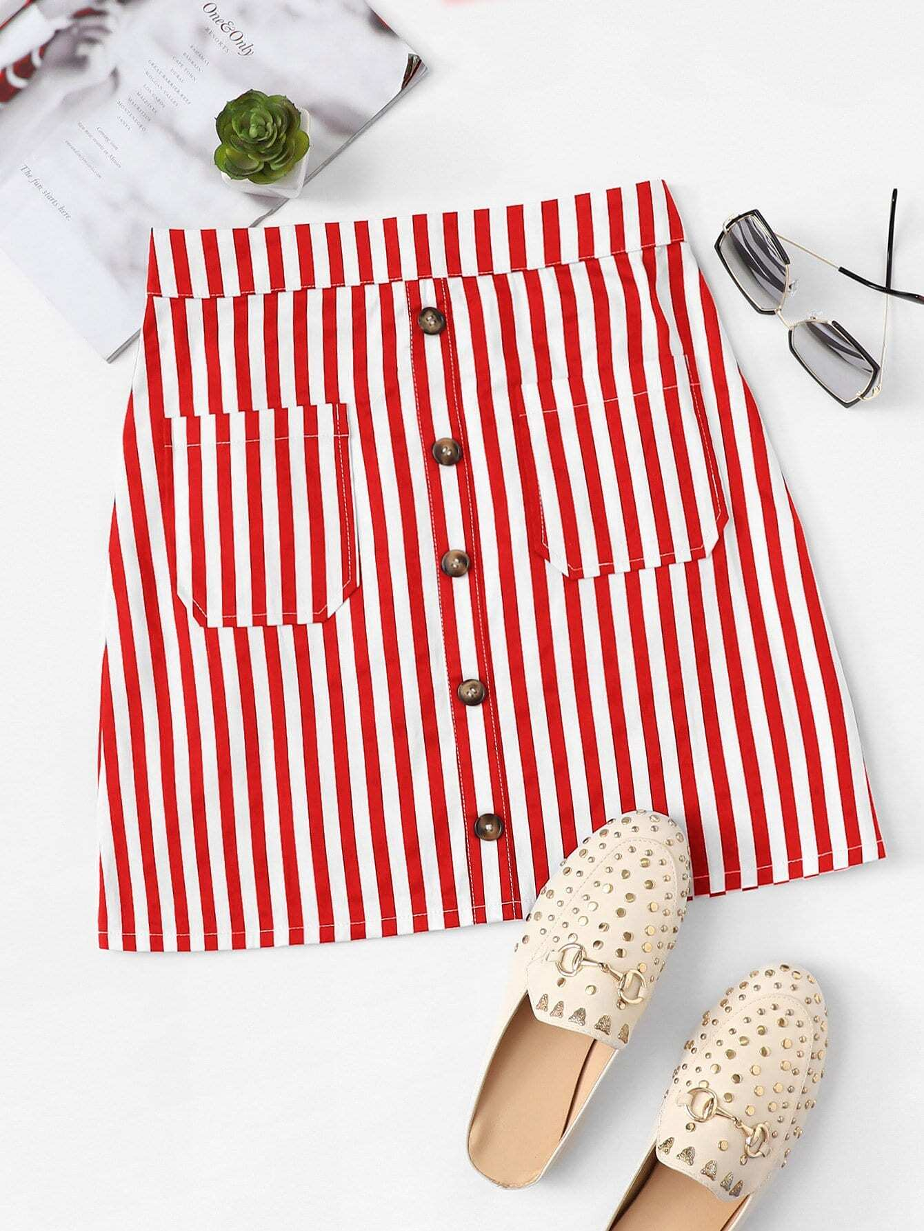 Button Front Striped Skirt
