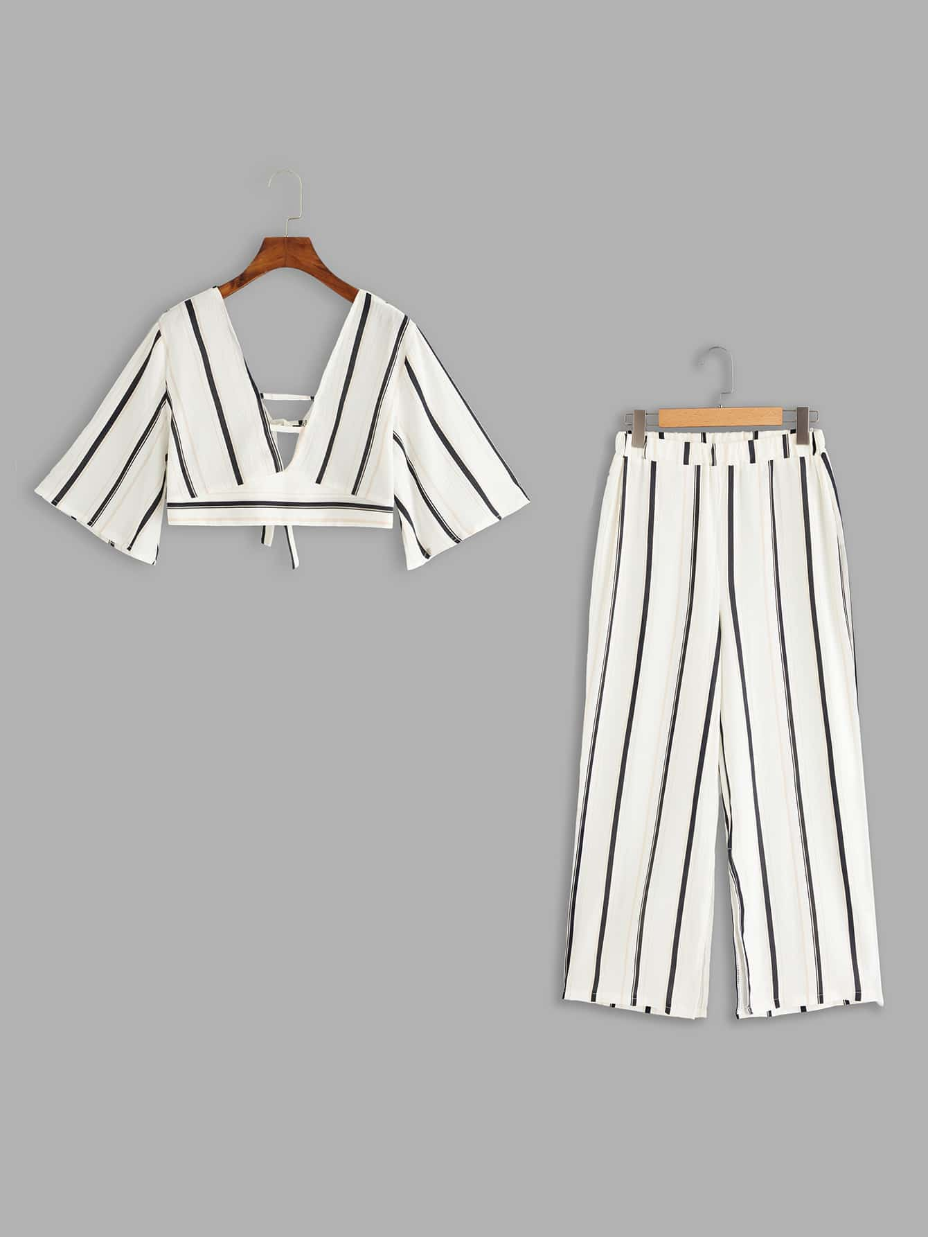 Knot Back Striped Top With Pants