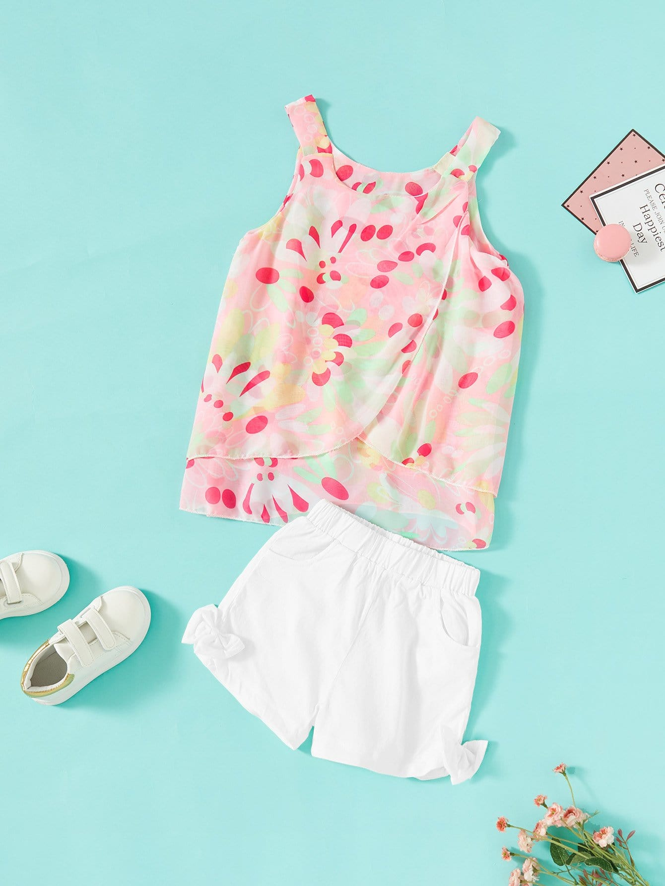 Girls Floral Print Cami Top With Shorts floral applique bowknot top with shorts