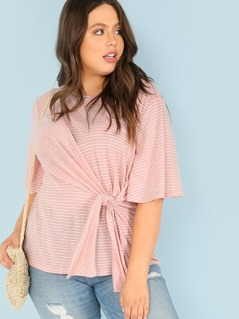 Plus Half Sleeve Stripe Top With Front Tie Detail