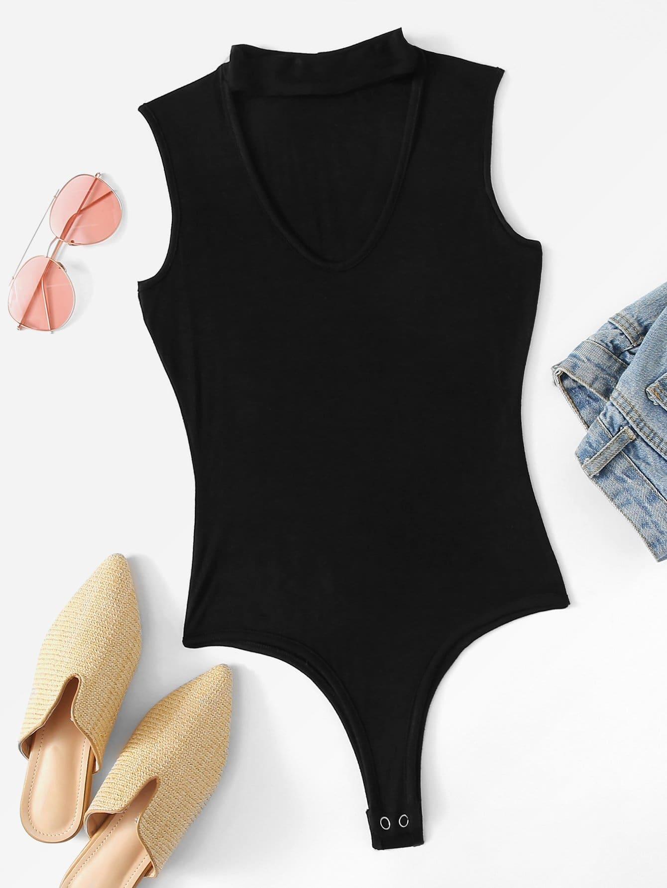 Choker Neckline Solid Bodysuit