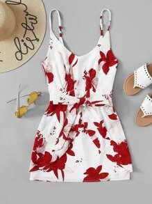Random Florals Knot Detail Cami Dress