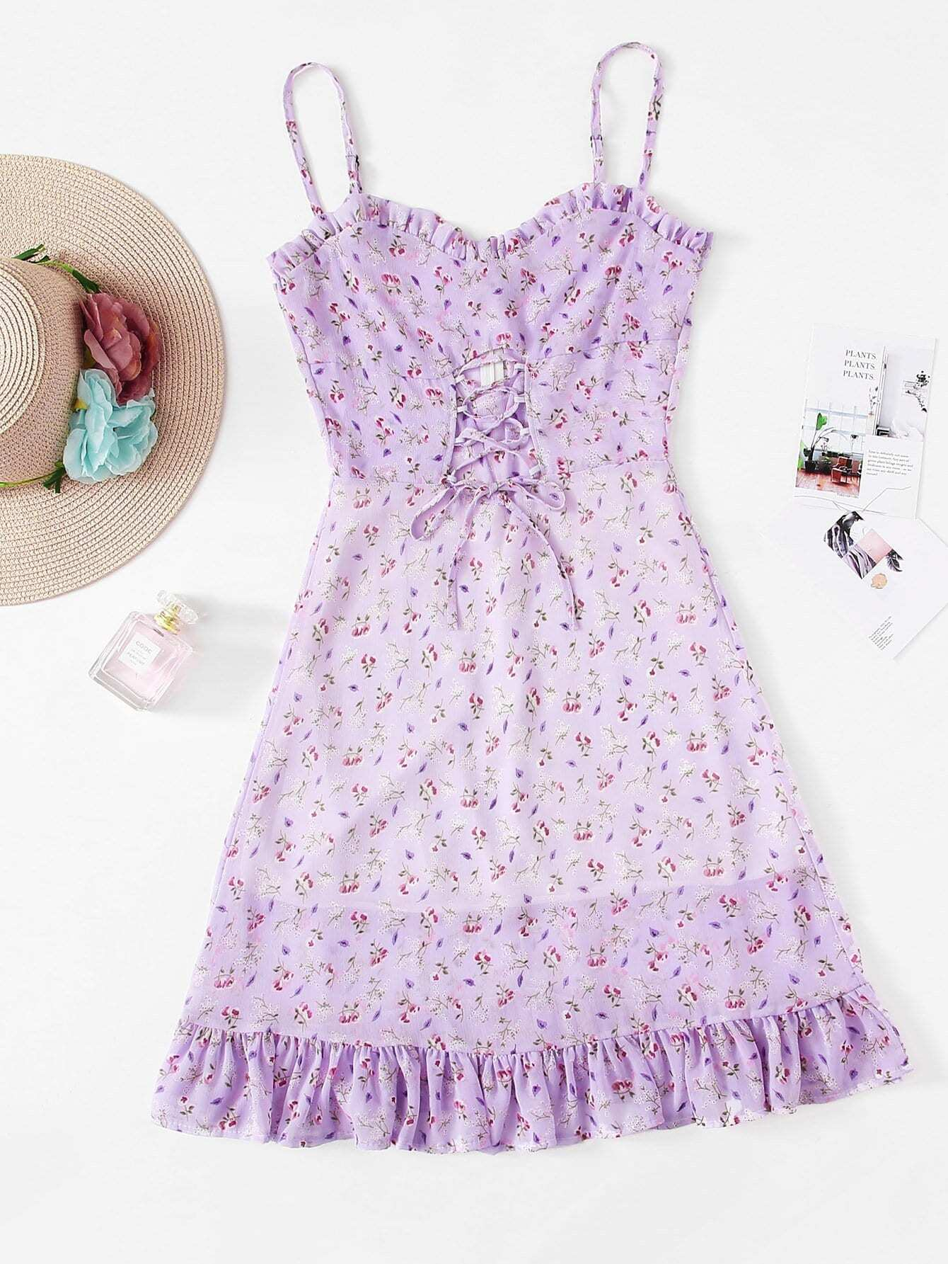 Lace Up Frill Trim Floral Cami Dress