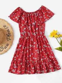 Ruffle Trim Off Shoulder Floral Dress