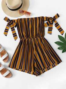 Knot Detail Striped Tube Romper