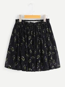 Frill Waist Floral Skirt