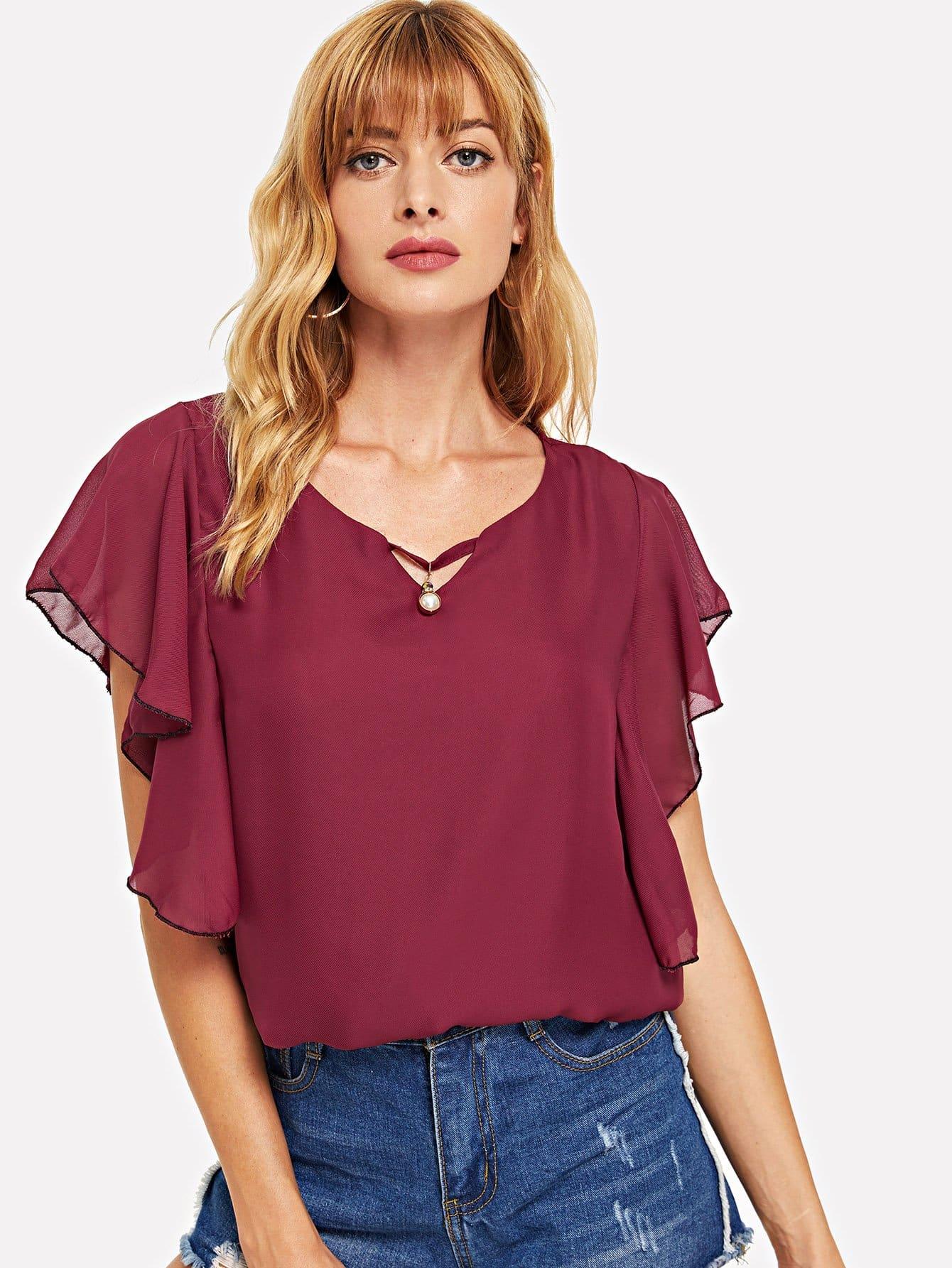 Купить Повседневный Одноцветный Кайма Бордовый Блузы+рубашки, Masha, SheIn