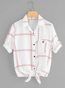 Knot Hem Single Breasted Plaid Shirt