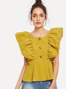 Ruffle Trim Single Breasted Knot Side Blouse