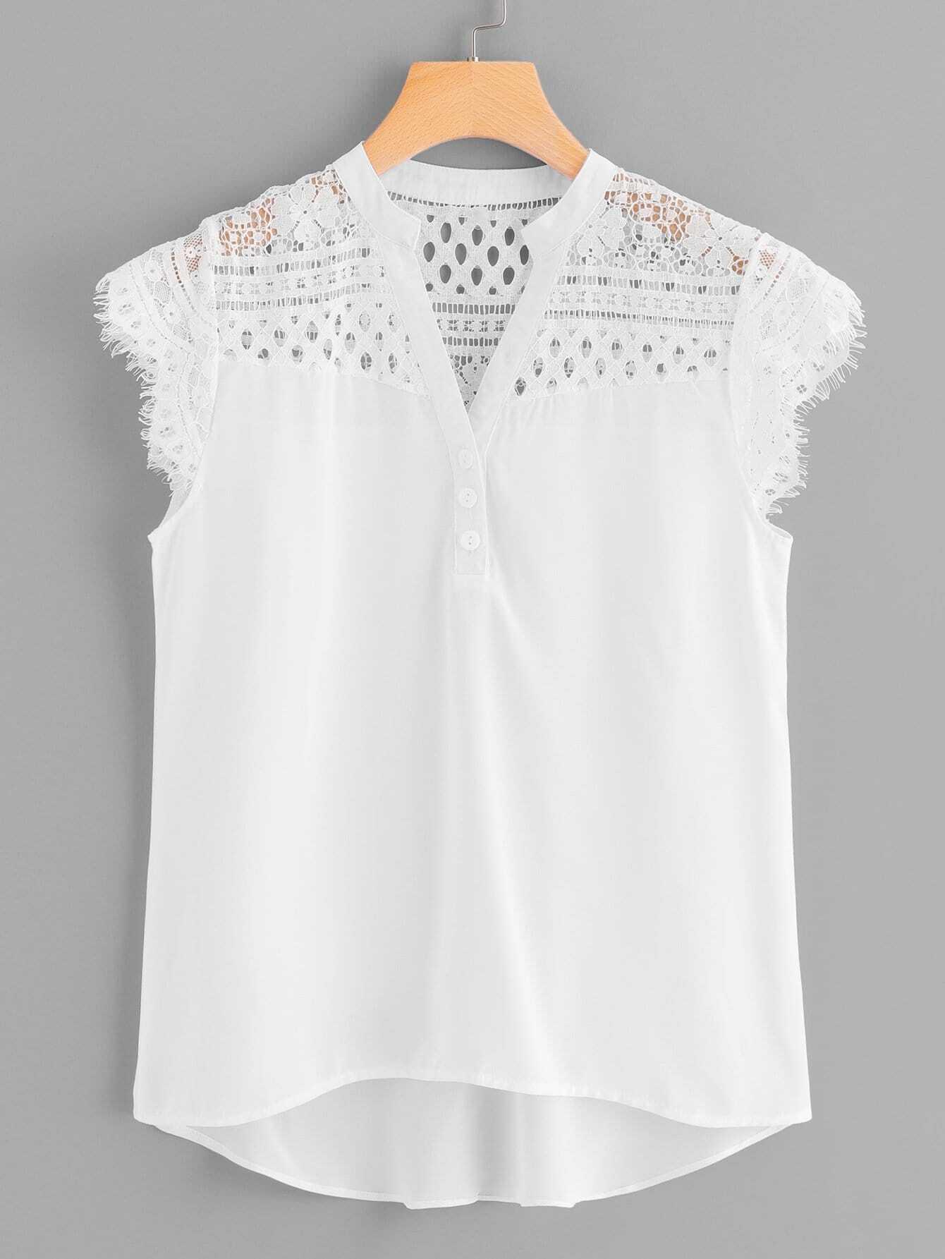 Купить Элегантный Одноцветный Пуговица Белый Блузы+рубашки, null, SheIn