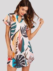 Plant Print Asymmetrical Hem Dress