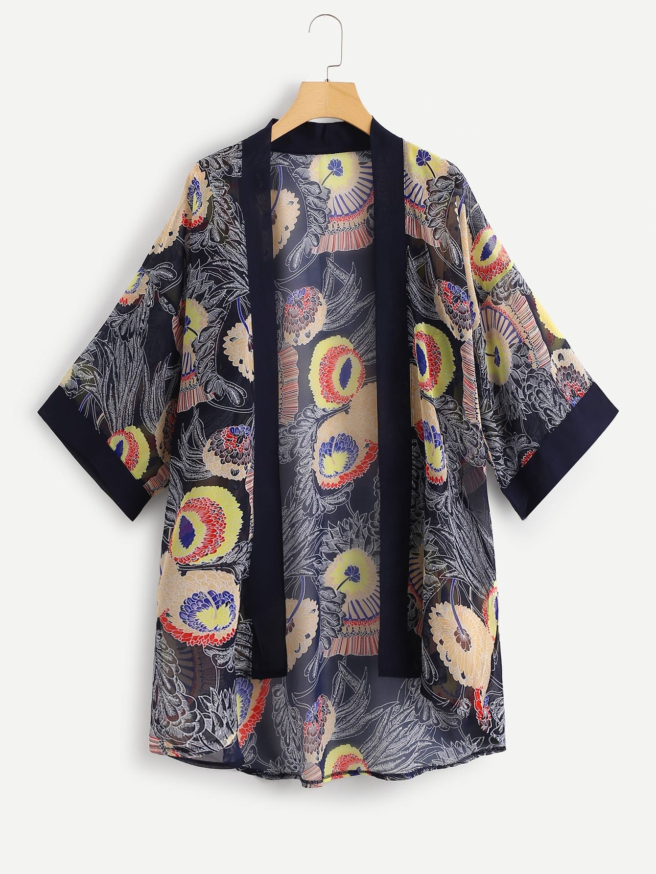 Купить Повседневный Цветочный кимоно Многоцветные Кимоно, null, SheIn