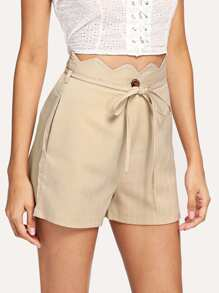 Scallop Trim Striped Shorts With Belt