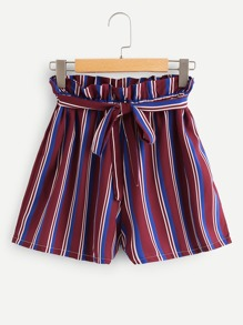 Frill Trim Striped Shorts