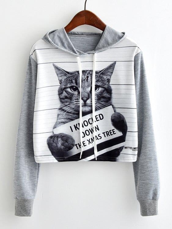 Повседневный Животный принт Пуловеры Серый Свитшоты