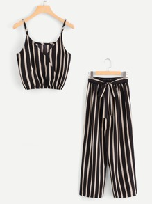 Striped Front Wrap Top With Belted Pants