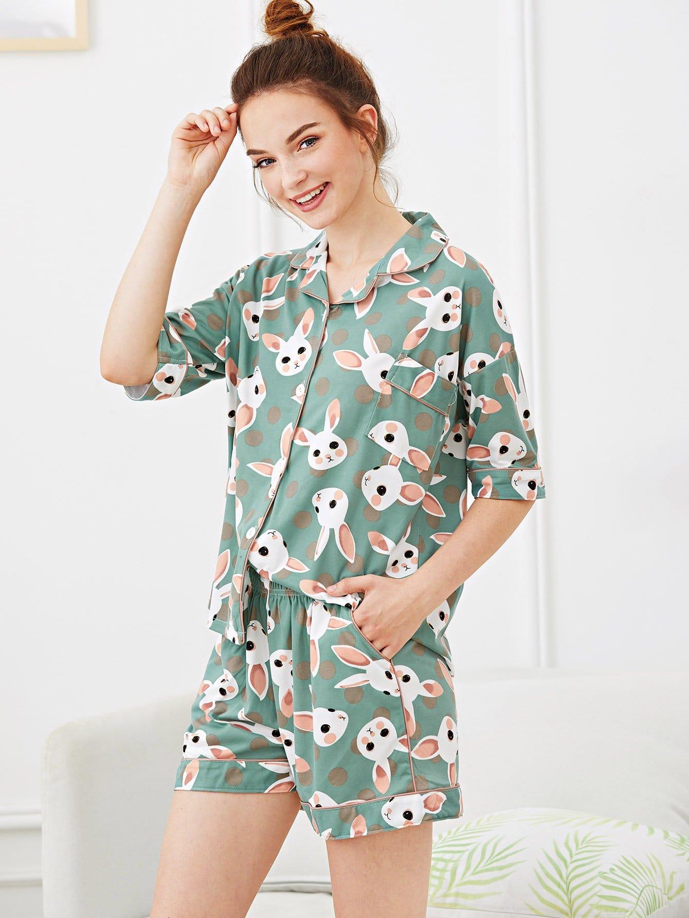 Купить Набор пижамы с рисунками кроликов и точк, Tory, SheIn