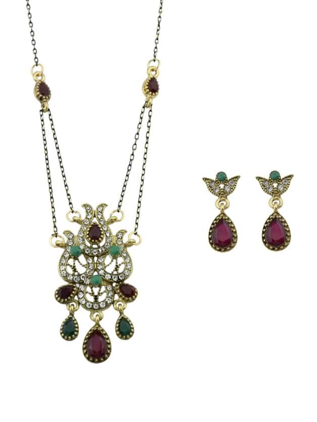 Vintage Bunte Strass Blume Anhänger Halskette Ohrringe Set