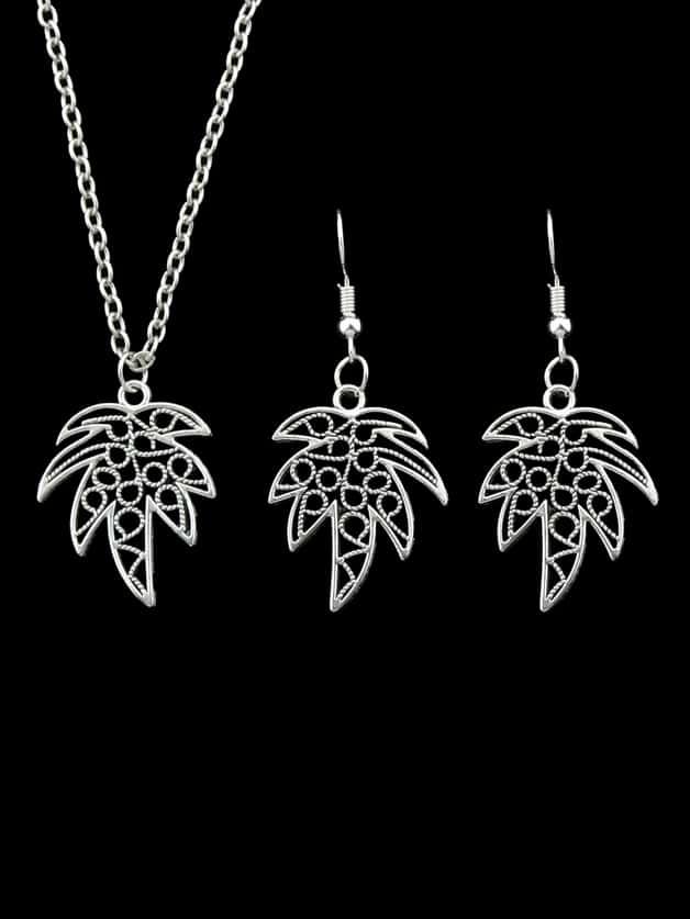 Neue Silberne Farbe Tropische Pflanze Kokosnussbaum Anhänger Halskette Ohrringe Set